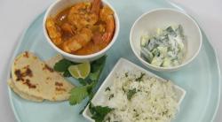 Zoe Lyons's Goan prawn, coconut and pumpkin curry with coriander rice on Celebrity Masterc ...