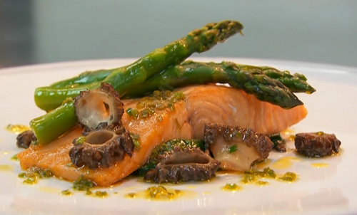Clara Amfo roasted rainbow trout with asparagus and morel mushrooms made using a recipe by Alan  ...