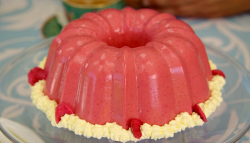 Prue Leith raspberry blancmange on the Great British Bake Off