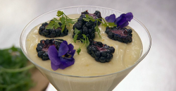 Lisa Maxwell's lemon posset with blackberries dessert on Celebrity Masterchef 2018