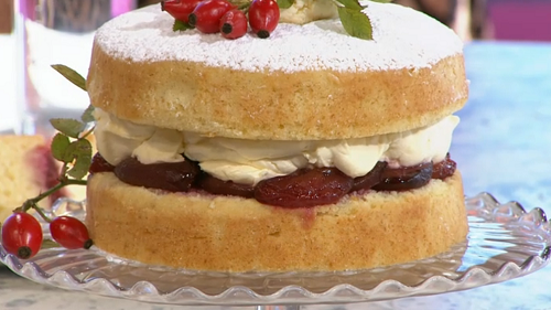 Claire Ptak red plum Victoria sponge cake on Sunday Brunch