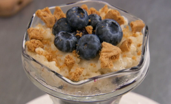 Stefanie Reid rice pudding with blueberries on Celebrity Masterchef 2018