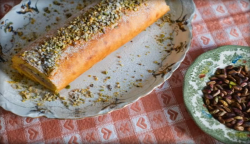 Nonna Maria's ricotta roll with pistachio nuts on Jamie cooks Italy