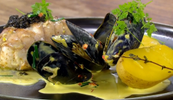 Daniel Galmiche roasted monkfish with potatoes and caviar on James Martin's Saturday Morning
