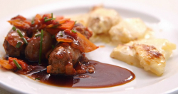Zoe Lyons sausage casserole with dauphinoise potatoes and Greek salad on Celebrity Masterchef 2018