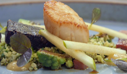 Paul Askew's escalope with black pudding and couscous cooked by Stefanie Reid on Celebrity Maste ...