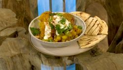 Anna Jones roast aloo gobi cauliflower with flatbreads on Saturday Kitchen