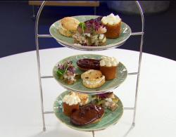 Spencer Matthews afternoon tea with  tiramisu chocolate eclairs and parsnip and banana cakes on  ...