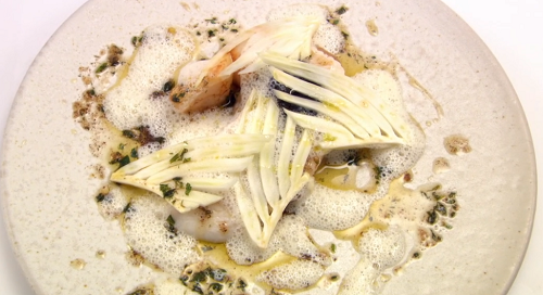 Marianne Lumb St Mary's, St Peter and St Jacques fish dish on Great British Menu