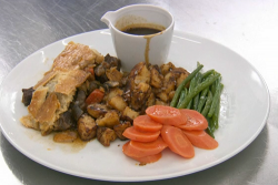 Martin Bayfield's steak and ale pie with bone marrow and oxtail sauce on Celebrity Masterc ...