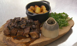 Lisa Maxwell sirloin steak with red wine and mushroom sauce on Celebrity Masterchef 2018