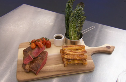 Stefanie Reid rib eye steak with kale and a beef thyme and rosemary sauce on Celebrity Masterche ...