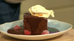 Simon Rimmer Sticky Chocolate Toffee Pudding with Raspberries and Clotted Cream on Sunday Brunch