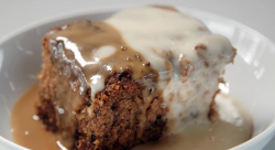AJ and Lisa's sticky toffee pudding with butterscotch sauce and custard on Celebrity Maste ...