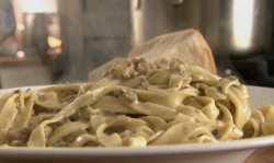 Rick Stein's tagliatelle pasta with salsiccia sauce on Saturday Kitchen