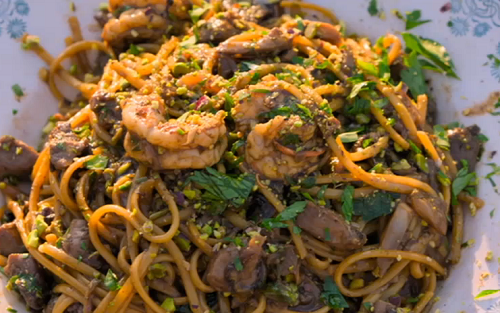 Jamie's tuna and prawn pasta Rosanna with sweet and sour sauce on Jamie Cooks Italy