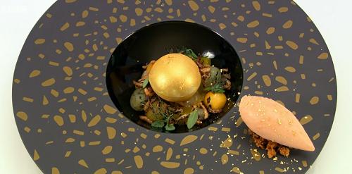 Ellis Barrie Worth Their Weight In Gold dessert on Great British Menu
