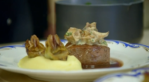 Gordon Ramsay beef fillet with whiskey and artichokes on Gordon, Gino and Fred: Road Trip
