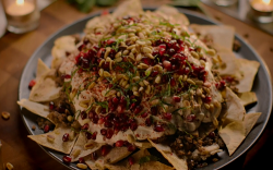 Nigella Lawson pomegranate beef and aubergine fatteh on Saturday Kitchen