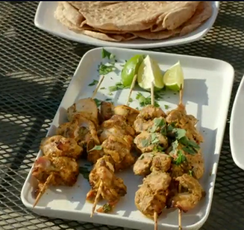 Gary McKinstry chicken  skewers with chapati flat bread on Eat Well For Less?