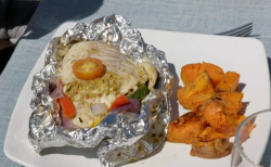 Chris and Louise pesto cod parcels with Mediterranean vegetables on Eat Well For Less?
