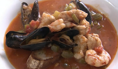 Rick Stein Italian fish stew with monkfish, mussel, prawn and a Californian sourdough bread on S ...