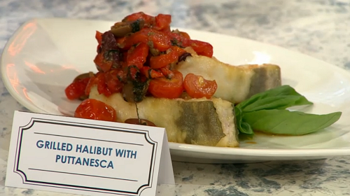 CJ Jackson grilled halibut with puttanesca on Sunday Brunch