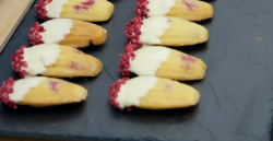 Rahul's lemon and raspberry Madeleines on the Great British Bake Off 2018