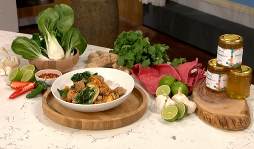 Phil Vickery sweet and sour pork meatballs with honey and water chestnuts on This Morning