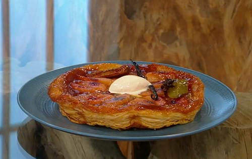 Marianne Lumb's quince tarte tatin with bay leaves on Saturday Kitchen