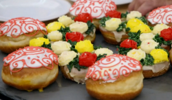 Rahul's dulce de leche filled doughnuts and raspberry with cardamom ring doughnuts on the  ...