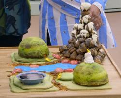 Rahul's edible rock garden with lemon dukan and chocolate cake on the Great British Bake O ...