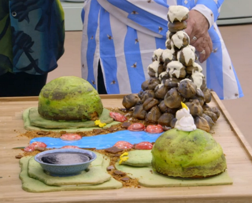 Rahul's edible rock garden with lemon dukan and chocolate cake on the Great British Bake O ...