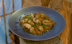 Jane Baxter stuffed squid stuffed squid with toasted almonds in a tomato and basil sauce on Satu ...