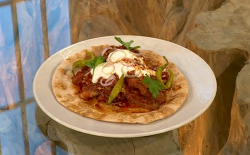 Josh Katz Minute steak with tomato gravy and Aleppo chilli butter on Saturday Kitchen
