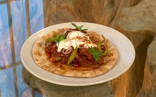 Josh Katz Minute steak with tomato gravy and Aleppo chilli butter on Saturday Kitchen