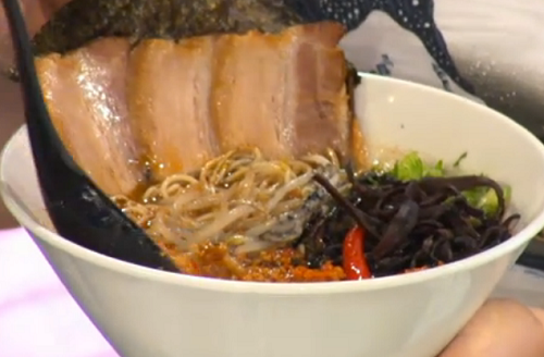Pritesh Mody sweet pork belly  umami broth on Sunday Brunch