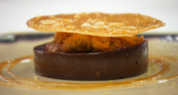 Laurence's baked chocolate mousse with miso caramel and candied peanuts on MasterChef: The ...