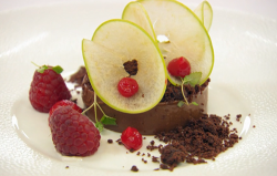 William's chocolate cremeux with a compressed apple, raspberries and chocolate soil desser ...