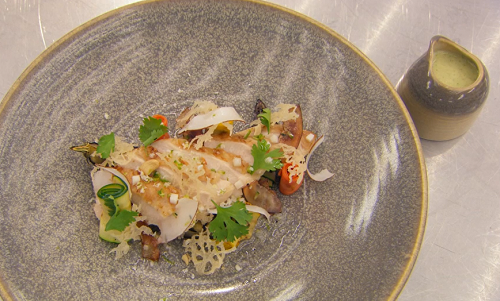 Luke's roast chicken with Thai coconut sauce on MasterChef: The Professionals