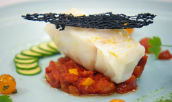 Dean's lemon baked cod with chorizo and courgettes on MasterChef: The Professionals