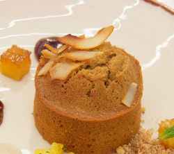 Michelle's rum cake with pineapple and panna cotta on MasterChef: The Professionals