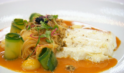 Mohan's halibut with angel hair pasta and a laksa bisque on MasterChef: The Professionals
