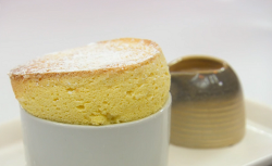 Mohan's jackfruit souffle with Malaysian inspired ginger tea creme Anglaise on MasterChef: ...