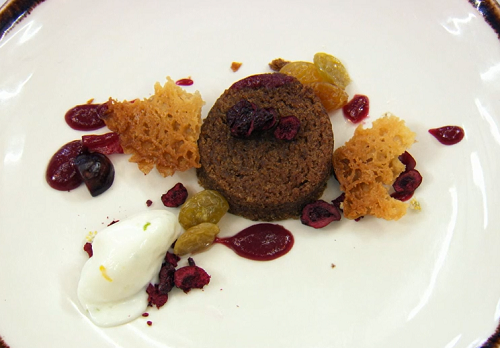 David's Jamaican spiced cake with goat cheese sorbet on Masterchef The Professionals