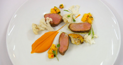 Michelle's Caribbean curry spiced lamb with a sweet potato and ginger puree, cauliflower a ...