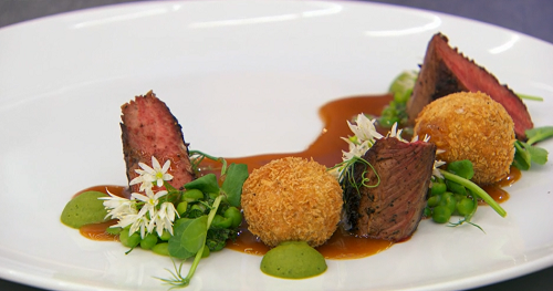 Ian's lamb with bonbons and pea puree on MasterChef: The Professionals 2018