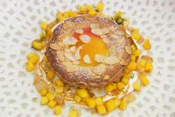Dave's peach and almond frangipane tart with cardamom custard on MasterChef: The Professionals