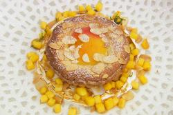 Dave's peach and almond frangipane tart with cardamom custard on MasterChef: The Professionals