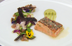 Dean's lime and vanilla seared salmon with beetroot and asparagus dish  on MasterChef: The ...